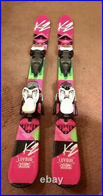 K2 LUV BUG Girls Jr 100cm withMarker 4.5 adjustable youth ski bindings. VG
